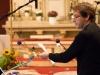 """Das Ensemble der Welturaufführung des Oratoriums """"Lebendiges Wasser"""" der Komponistin Ana Szilágyi mit Texten von Peter Rettinger am 18. Oktober 2014 in der Pfarrkirche Gersthof-St.Leopold, Wien 18., Österreich"""